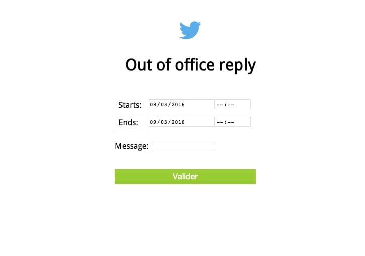 Message d'absence Twitter